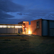 South elevation at night