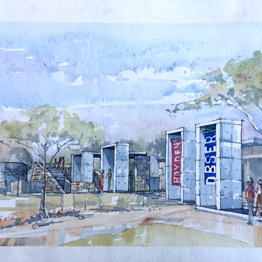 Watercolour of arrival at site