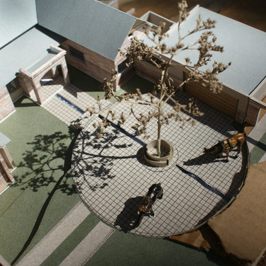 Model of house courtyard