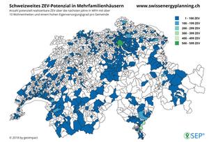 Schweizweites ZEV-Potenzial in Mehrfamilienhäusern