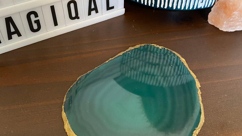 Aqua-Teal Agate Rolling Tray