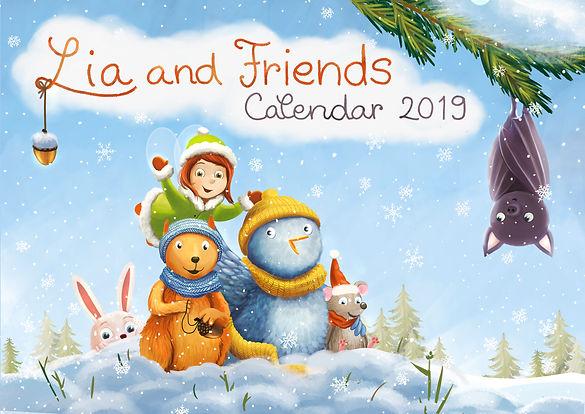Lia an friends, little fairy Lia, clendar 2019, cute fairy, winter, joy, joyful, Anda Ansheen, cute critters, squirrel, bunny, bluebird, little faiy, Lia