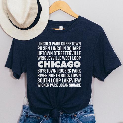 Chicago Neighborhoods Soft Short-Sleeve Unisex T-Shirt