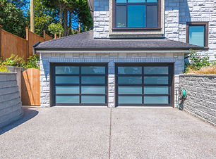 Modern double doors garage with wide lon