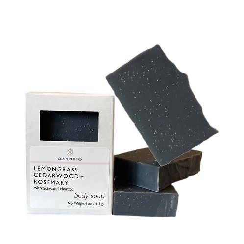 ACTIVATED CHARCOAL DETOX BAR WITH LEMONGRASS, CEDARWOOD + ROSEMARY