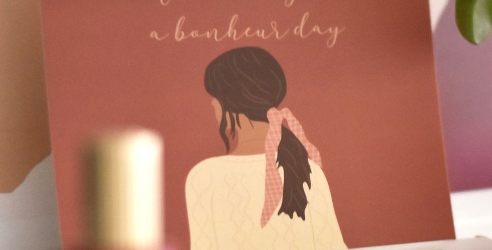 """Carte illustration - """"Wool day is a bonheur day"""""""