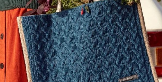Le cabas douceur - Laine, cachemire et jute - Bleu canard