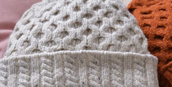 Bonnet nid d'abeille - Craie - Laine et cachemire