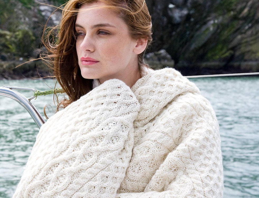 Plaid écru en laine mérinos