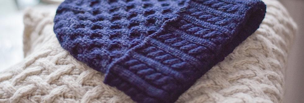 Bonnet nid d'abeille - Bleu nuit - Laine