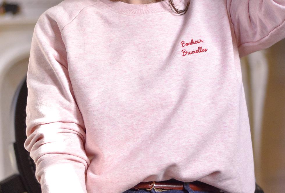 Sweat-shirt rose brodé Bonheur Bruxelles coton bio