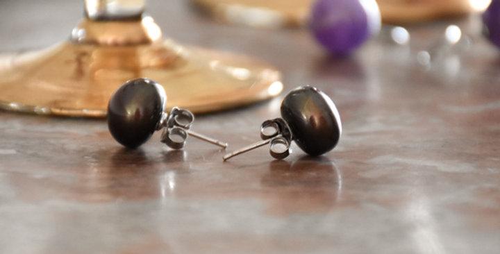 boucles d'oreilles perles grises