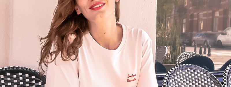 T-shirt brodé coton bio Bonheur Bruxelles