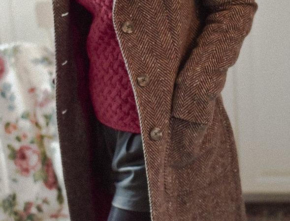 Le manteau tweed Donegal Emma - Prune