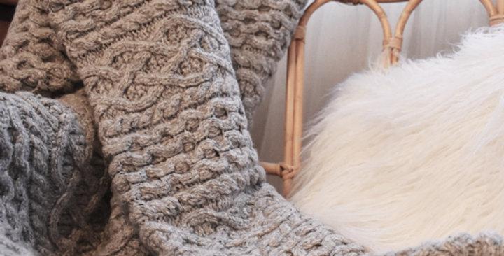 plaid laine et cachemire gris clair