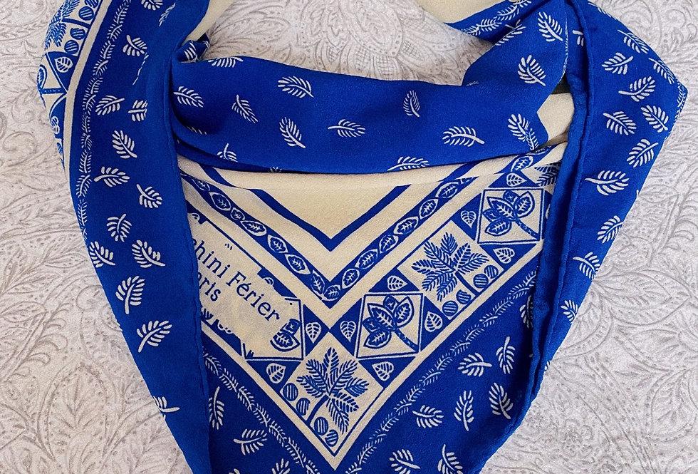 Foulard vintage bleu azur - Bianchini Férier
