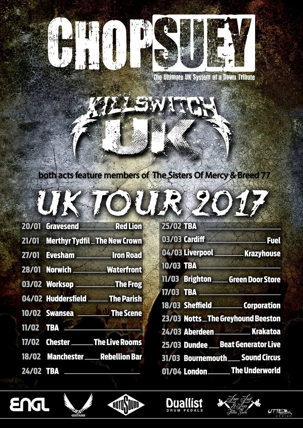 Prolpase A.D. are back , supporting our brothers in metal Chop Suey And Killswitch UK get your asses down there and thrash with us! https://www.facebook.com/events/1835461443333606/