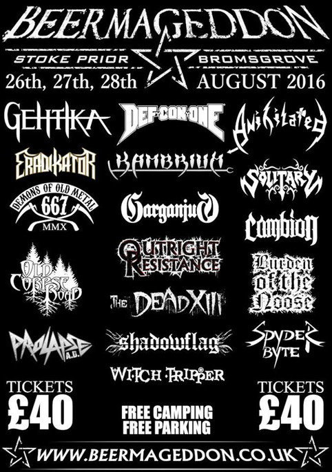 Prolapse A.D are proud to announce we will be opening at the amazing Beermageddon Fest