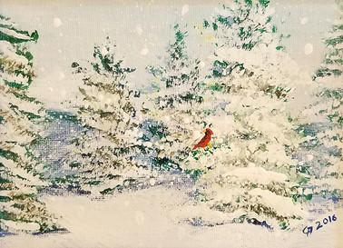 Cardinal in Snowy Trees