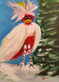 Candy-Stripe Legged Christmas Bird