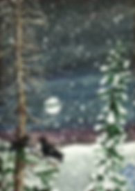 miniature acrylic painting ravens in snow