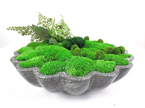Marble Scallop Moss Bowl
