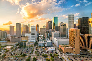 Downtown Houston skyline in Texas USA at