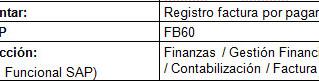 FI Registro Factura proveedor (FB60)