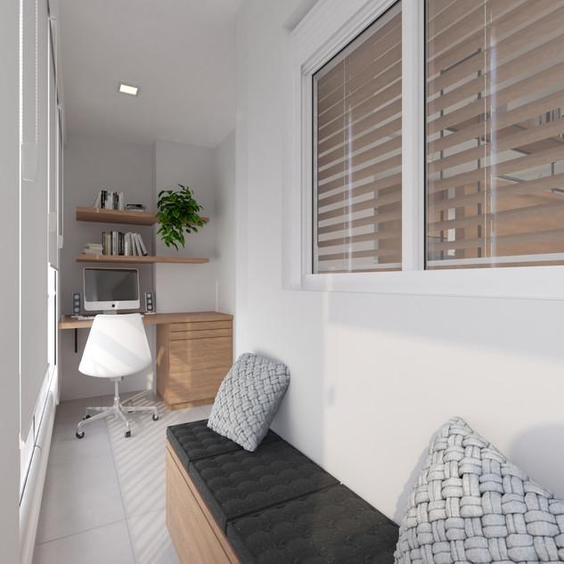 Varanda com home office
