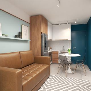 Sala integrada com cozinha
