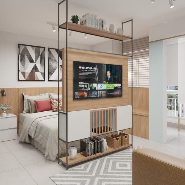 Sala integrada com quarto e varanda