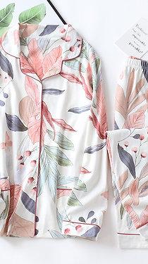 Women Long Sleeve Nightwear Autumn 100% Cotton Knitted Pajama Set