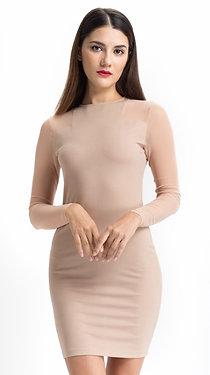 Solid Beige Mesh Dress