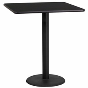 36'' SQUARE LAMINATE TABLE TOP WITH 24'' ROUND BAR HEIGHT TABLE BASE