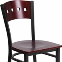BLACK 4 SQUARE BACK METAL RESTAURANT CHAIR - MAHOGANY WOOD BACK AND SEAT