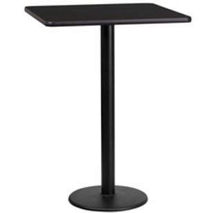 24'' SQUARE LAMINATE TABLE TOP WITH 18'' ROUND BAR HEIGHT TABLE BASE