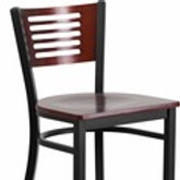 HERCULES SERIES BLACK SLAT BACK METAL RESTAURANT BARSTOOL - MAHOGANY WOOD
