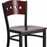 HERCULES SERIES BLACK 4 SQUARE BACK METAL BARSTOOL - MAHOGANY WOOD BACK AND SEAT