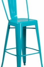 30'' HIGH METAL INDOOR-OUTDOOR BARSTOOL WITH BACK