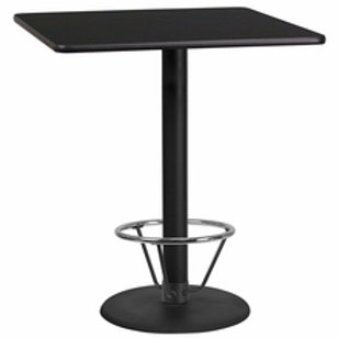 36'' SQUARE LAMINATE TABLE TOP WITH 24'' ROUND BAR HEIGHT TABLE BASE W/FOOT RING