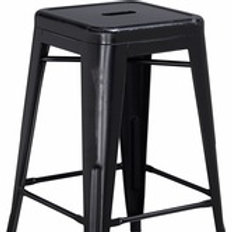 24'' HIGH BACKLESS DISTRESSED METAL INDOOR-OUTDOOR COUNTER HEIGHT STOOL