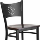 HERCULES SERIES BLACK COFFEE BACK METAL RESTAURANT BARSTOOL - WOOD SEAT