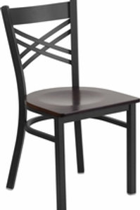 HERCULES SERIES BLACK ''X'' BACK METAL RESTAURANT CHAIR WOOD SEAT