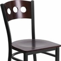 BLACK 3 CIRCLE BACK METAL RESTAURANT CHAIR - WALNUT WOOD BACK AND SEAT