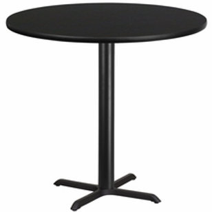 42'' ROUND LAMINATE TABLE TOP WITH 33'' X 33'' BAR HEIGHT TABLE BASE