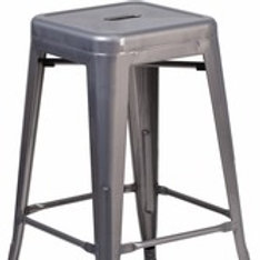 24'' HIGH BACKLESS CLEAR COATED METAL INDOOR COUNTER HEIGHT STOOL WITH SQUARE SE