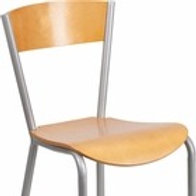 INVINCIBLE SERIES SILVER METAL RESTAURANT CHAIR - NATURAL WOOD