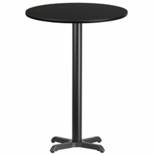 30'' ROUND LAMINATE TABLE TOP WITH 22'' X 22'' BAR HEIGHT TABLE BASE