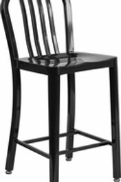 24'' HIGH METAL INDOOR-OUTDOOR COUNTER HEIGHT STOOL WITH VERTICAL SLAT BAC