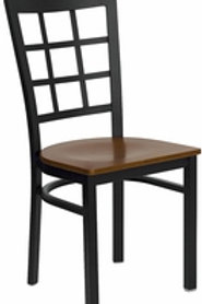 HERCULES SERIES BLACK WINDOW BACK METAL RESTAURANT CHAIR WOOD SEAT